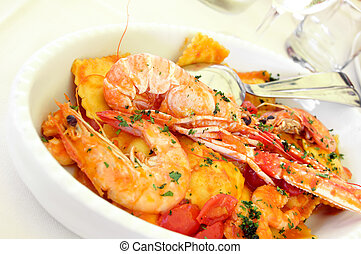 Pasta and seafood - Italian pasta with seafood on a plate