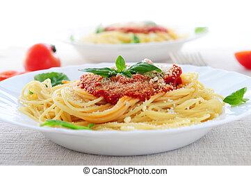 Pasta and tomato sauce