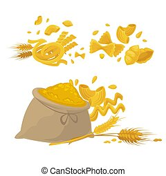 Pasta and wheat flour products vector icons - Pasta and...
