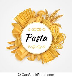 Pasta background. Realistic Italian cuisine dry macaroni types, raw wheat food and flour products. Vector 3D organic pasta isolated set