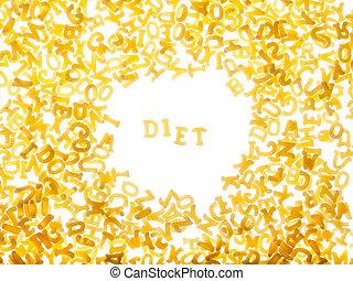 "Pasta background with word ""diet"""