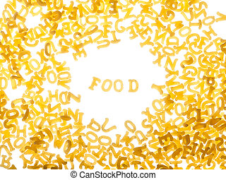 """Pasta background with word """"food"""""""