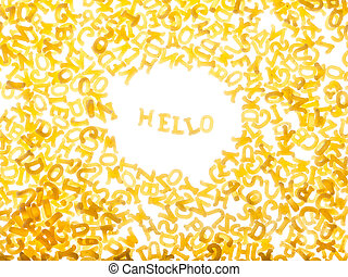 """Pasta background with word """"hello"""""""