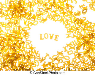 """Pasta background with word """"love"""""""