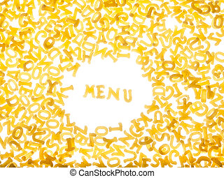 """Pasta background with word """"menu"""""""