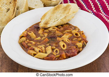 Pasta beans and veggies - A bowl of Pasta Fagioli