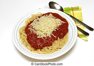 Pasta bolognaise with mozarella