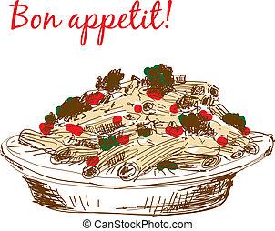 Pasta. Bon appetit! - Pasta. Bon appetit. Hand drawn color...