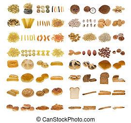 pasta, bread, och, nötter