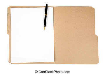 pasta, caneta, arquivo