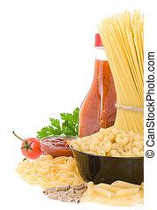 pasta, cibo crudo, ingrediente
