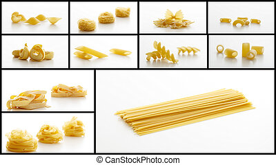 Pasta collage on white background