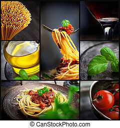 Pasta collage - Restaurant series. Collage of pasta with ...