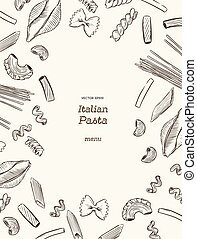 Pasta collection, hand draw sketch vector.