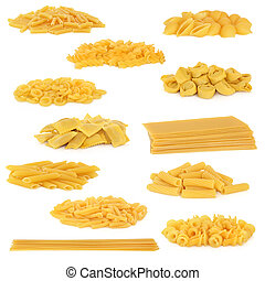 Pasta Collection - Pasta collection isolated over white...