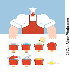 Pasta cooking instruction. Chef directions spaghetti. Step by step food instruction. Recipe for products. Ingredients. Vector illustration
