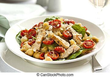 pasta, cremoso, pollo, spinacio