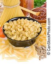 pasta, crudo, cibo, ingrediente