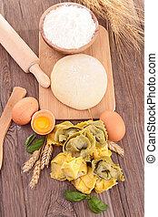 pasta, crudo, ingrediente