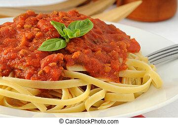 Pasta - Delicious linguine pasta with tomato basil sauce.