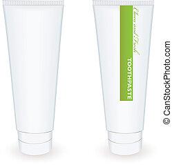 pasta dentífrica, tubo