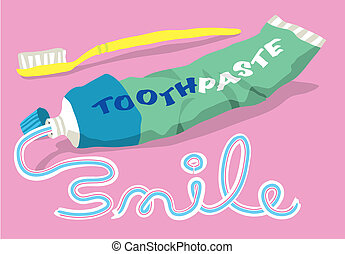 pasta dentífrica, y, cepillo, con, sonrisa, palabra