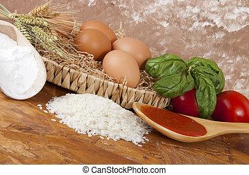 pasta, een, basso, contenuto, proteico-pasta, laag, proteïne