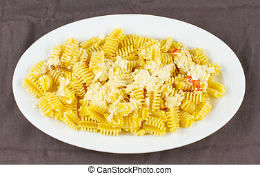 Pasta - Entire view of a plate of Italian pasta with cheese