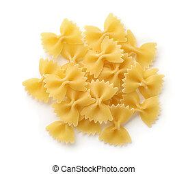 pasta, farfalle, aanzicht, bovenzijde, uncooked
