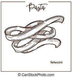 Pasta Fettuccini chalk sketch icon for Italian cuisine menu....