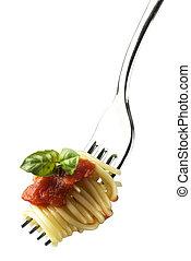 pasta - fresh spaghetti on fork close up shoot