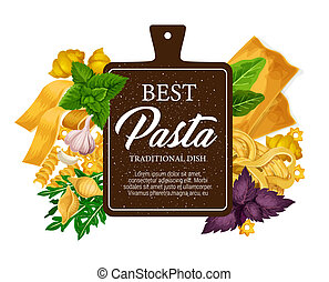 Pasta from Italy, pastry food vector - Pasta poster and...