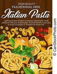 Pasta from Italy with seasonings and herbs poster - Italian...