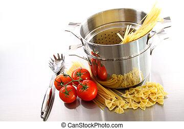 pasta, garnek, gotowanie, uncooked, pomidory