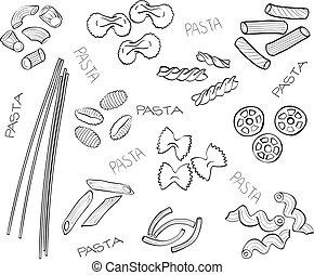 pasta, hand-drawn, -, types, illustratie