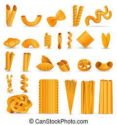 Pasta icon set, cartoon style