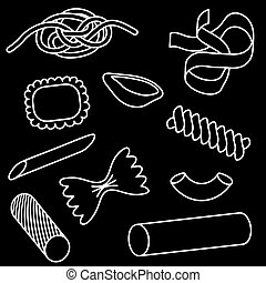 pasta, ikon, sæt