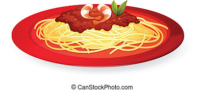 Pasta - illustration of a plate of pasta on a white ...