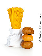 pasta in a bag and buns isolated on white