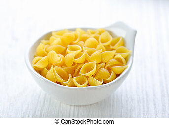 Pasta in a bowl on white table