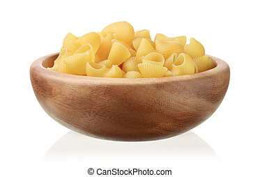 Pasta in a wooden bowl isolated on white