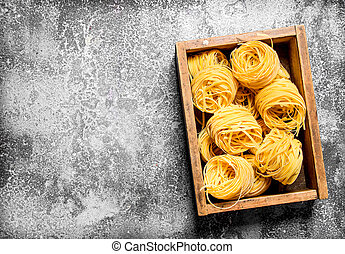Pasta in an old box.