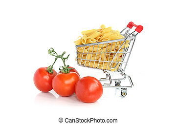 Pasta in cart with tomatoes