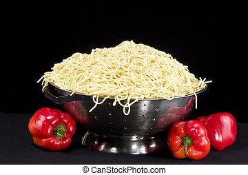 Pasta in Colander - Cooked pasta in silver colander with ...