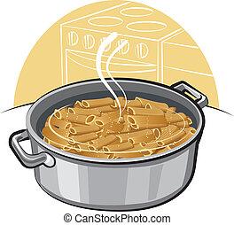 pasta in the pot
