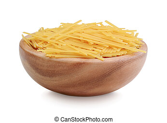Pasta in wooden bowl isolated on white background