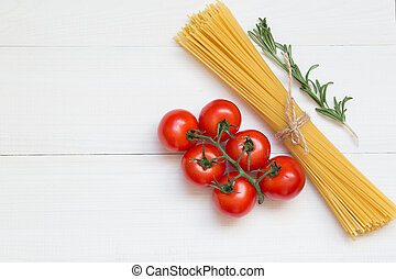 Pasta ingredients concept on white background, top view