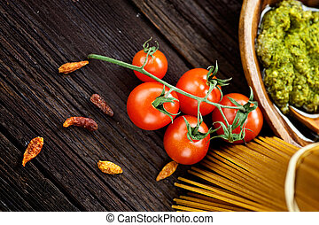 Pasta ingredients - Italian cooking with whole wheat pasta, ...