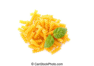 Pasta isolated on white background, top view. Dry uncooked whole pasta
