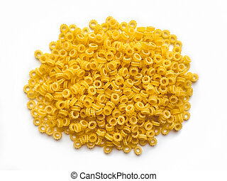 Pasta isolated on white background. Top view.